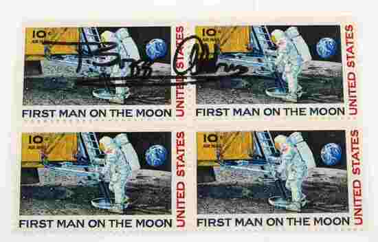 US FIRST MAN ON THE MOON STAMPS SIGNED BY ALDRIN