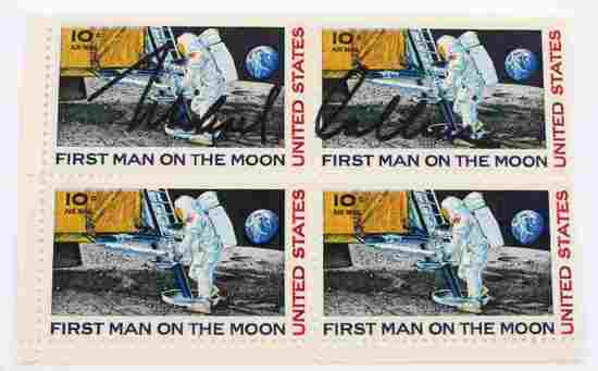US FIRST MAN ON THE MOON STAMPS SIGNED BY COLLINS