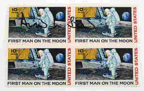 US FIRST MAN ON THE MOON STAMPS SIGNED BY BEAN