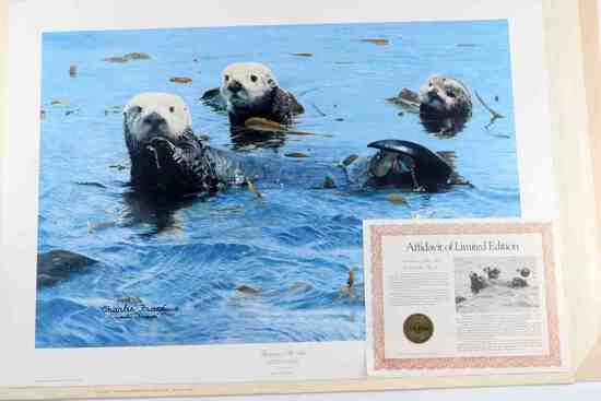 CHARLES FRACE WILDLIFE OTTERS SIGNED LE PRINT