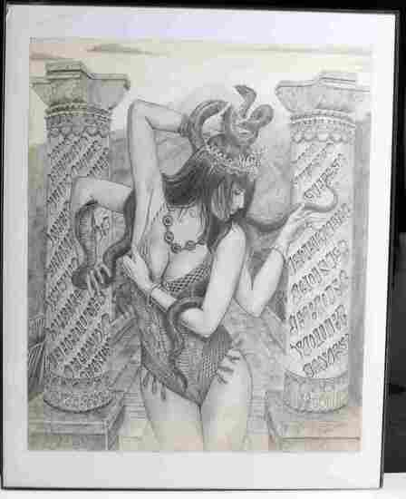 FEMALE GODDESS WITH SNAKE GRAPHITE DRAWING