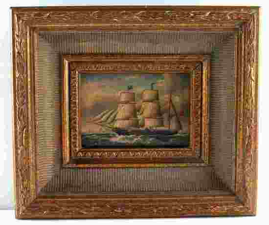 19TH CENTURY BARQUE SHIP OIL PAINTING ON BOARD