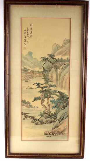 VINTAGE CHINESE SILK LANDSCAPE PAINTING