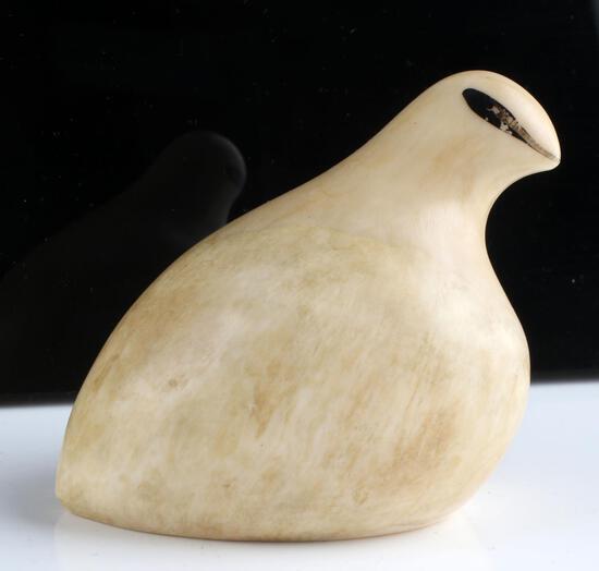 ALASKA NATIVE WALRUS TUSK SCRIMSHAW PTARMIGAN BIRD