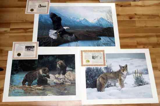 3 FRACE WILDLIFE EAGLE BEAR COYOTE SIGNED PRINTS