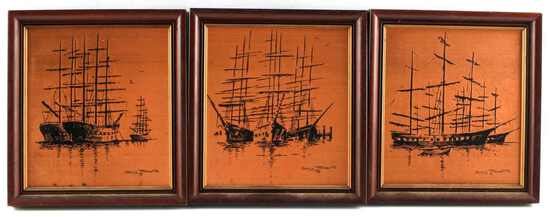 3 COPPER SHIP ETCHINGS BY GARY ROBERTS 1975