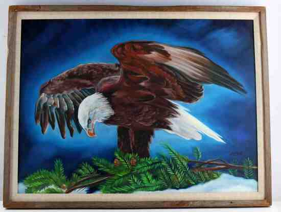 BELK ORIGINAL OF AUDUBON BALD EAGLE OIL PAINTING