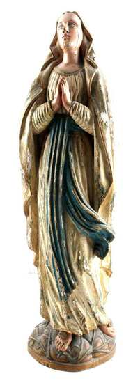 19TH CENTURY MARY OUR LADY OF LOURDES WOOD FIGURE