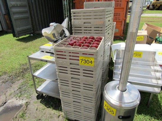 LOT-4 STACKS OF TUMBLERS AND ROLL RACKS