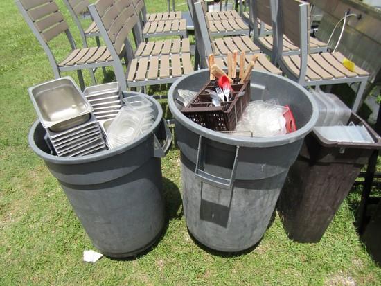 LOT-KITCHENWARE-UTENSILS-TRASH CANS