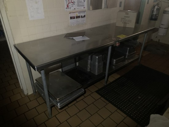 STAINLESS STEEL 8FT TABLE W/CONTENTS