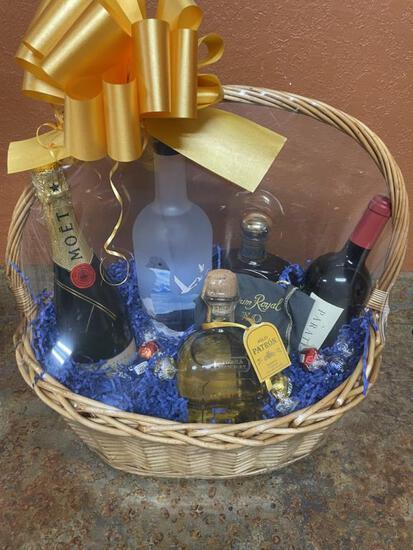 Basket Of Assorted Wine & Liquor