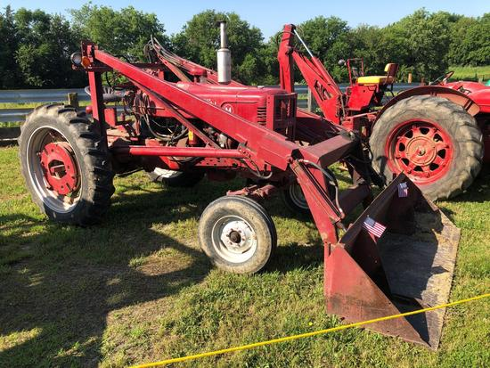 Farmall M Wide Front Tractor with Farmhand Loader, Gas, SN:FBK 22846