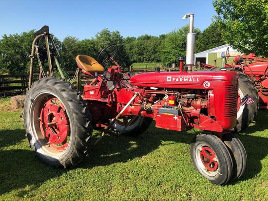 Farmall Super C Narrow Front Tractor with Post Hole Digger Attachment, Gas, SN:132987