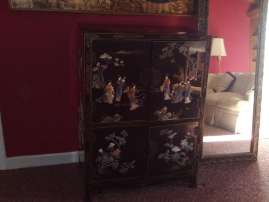 Oriental inlayed cabinet two sections