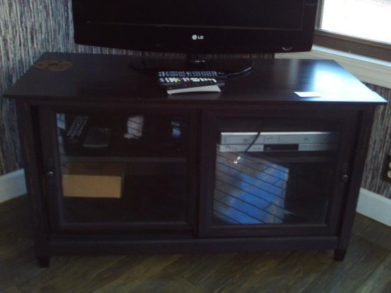 TV wood console front sliding glass doors