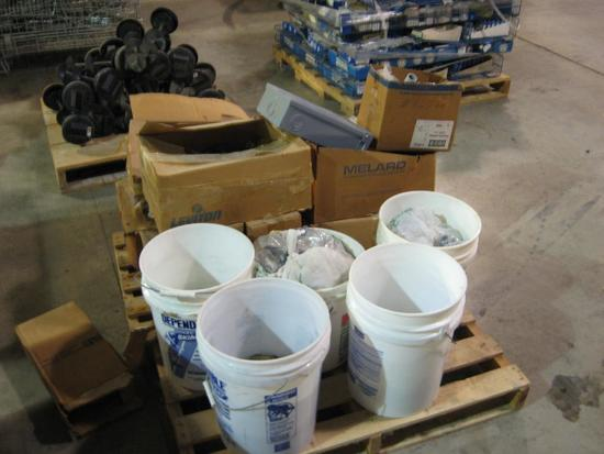 Bolts, Washers, Plumbing Supplies, Electrical parts, Box switches, Plugs-total of 14 containers