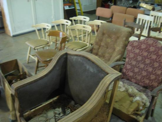 Chairs & Wooden Box with lots of Collectibles