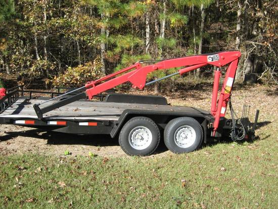 Trailer-15ft long, 89 in wide. Wench on front-H1AB boom-Hydraulic-will pick up 1,000 lbs, min.-