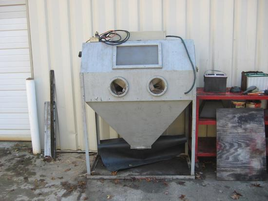"Dry Blast Cabinet-sand blaster-foot operated pedal, light inside-61""x 48'"