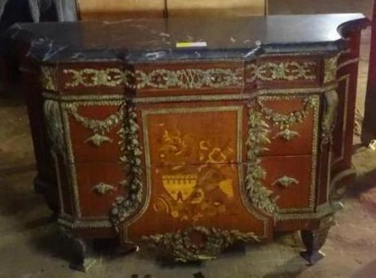 "Antique French Marble top Commode-58'"" wide, 21""deep, 36"" tall"