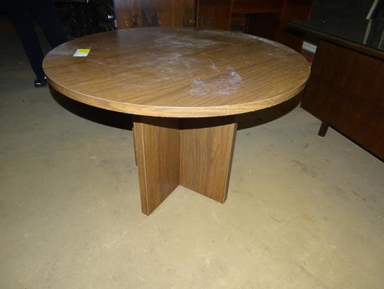 "Round laminate table-42"" diameter, 30"" tall"