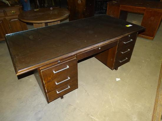 "Desk with glass -60"" long, 34"" deep, 30"" tall"