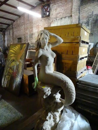 "Mermaid concrete statue-72"" tall"