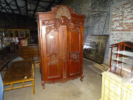 "Ornate Victorian Wardrobe-92'' tall, 52"" wide, 21"" deep"
