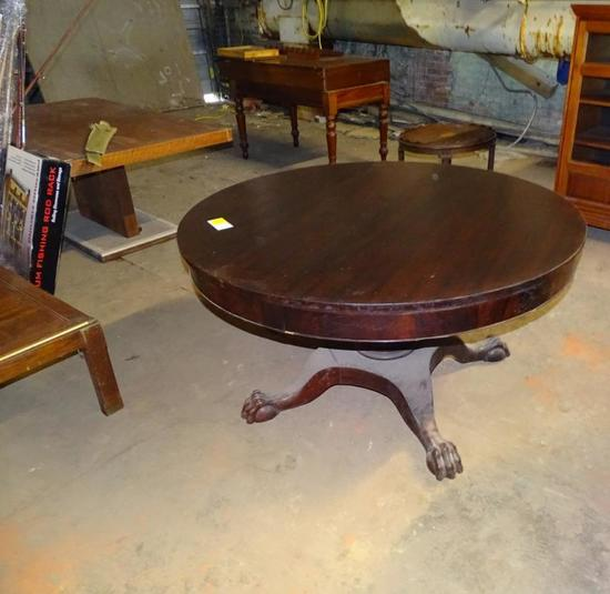 "Burl Mahogany Round Table with Claw feet-55"" diameter, 30"" high"