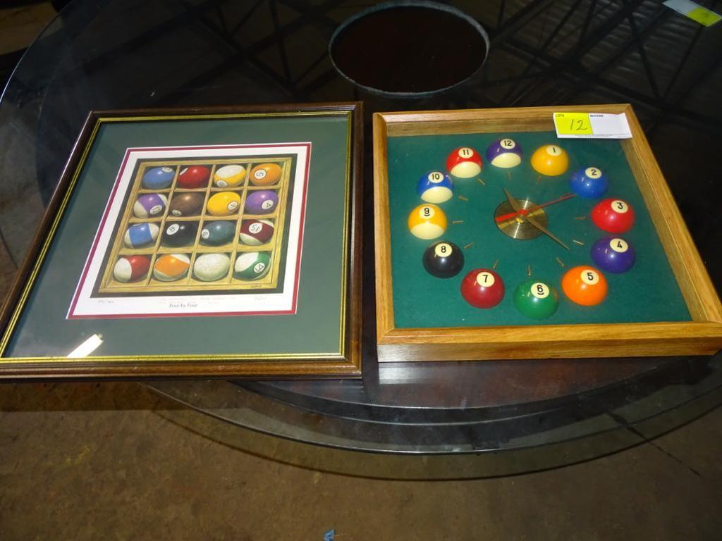 Pool cue ball clock and framed print