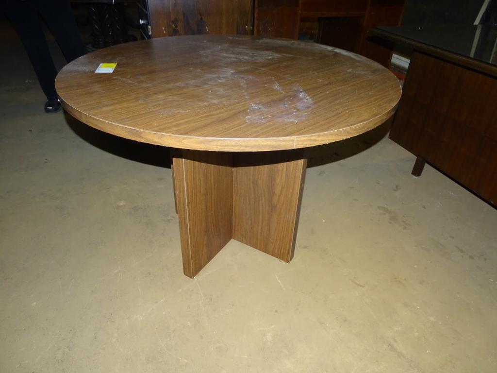 "Round laminate table-42"" diameter, 30"" tall"