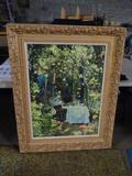Large oil on canvas-garden, with gold wood frame