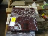 Entire crate of assorted ceramic and Italian marble tiles plus bull nosed. 10 boxes