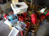Misc items-Power cords, 2 lamps, tools, fishing rods, gas cans, fire extinguisher, plus more!