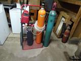 Acetylene cutting torch with stand-4 bottles
