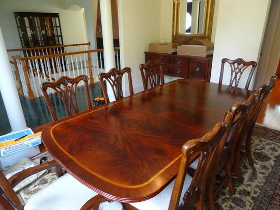 "Burl Mahogany Dining Room Table-90"" x 45"" plus one additional 18"" leaf. Includes 10 chairs."
