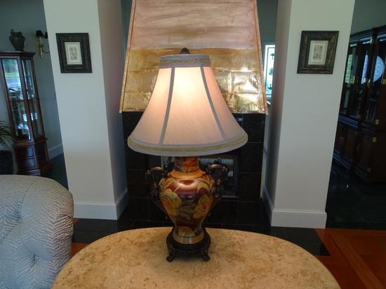 "Heavy wooden lamp-29"" tall."