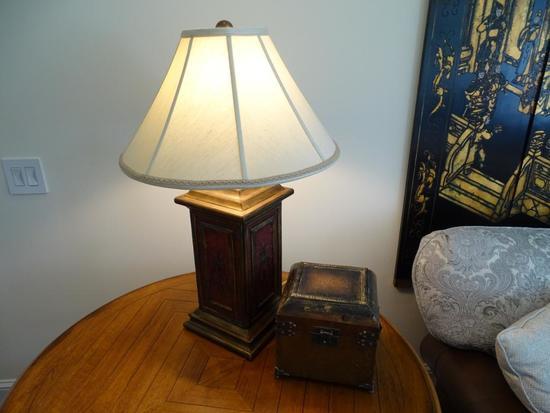 "Lamp-29"" tall, plus curio box"