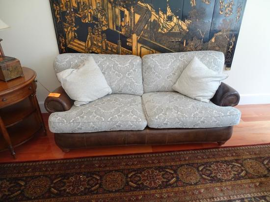 "Michael Thomas leather/upholstered sofa-81"" long x 32"" deep x 38"" tall. Plus 2 pillows."
