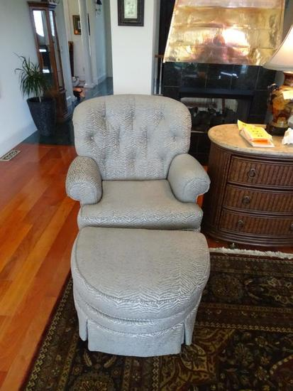 "2 Club Chairs with Ottoman-36"" tall-grey upholstery"