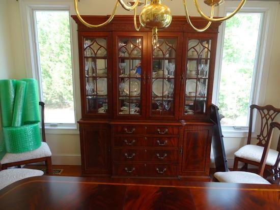 "Burl Mahogany China Cabinet with inside lighting-87"" tall x 14"" deep x 68"" wide."