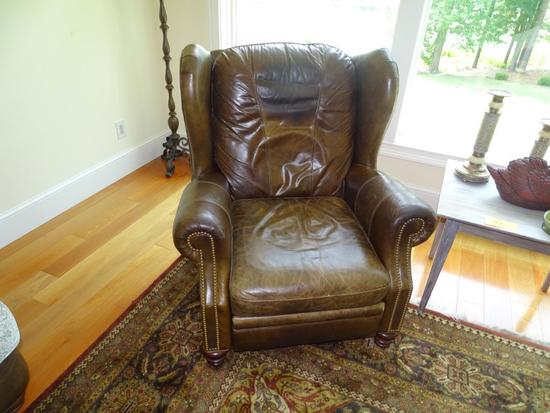 """Leather recliner-motioncraft-33"""" tall, worn sections."""