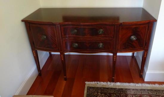 "Burl mahogany sideboard with inlay.66"" long x 26"" deep x 38"" tall."