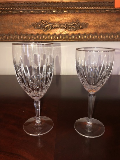 Lenox crystal-platinum rim, 14 water glasses, 5 wine glasses, 9 small wine glasses.