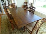 Large Walnut Kitchen table on iron pedestal with 8 chairs.7.25' x 3'