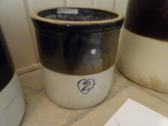 Burley Winter Pottery-2 gal with #2 in heart-cobalt blue-old glaze-1872-1932, Crooksville, OH.