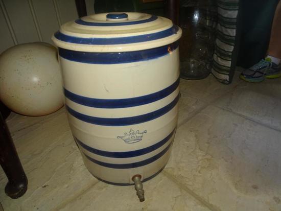Robinson Ransbottom Water Cooler, 6 GAL, 6 Cobalt Bands, Roseville, OH, Rare 1900.