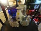 Assorted pieces-Glass sugar/creamer, flip top jar cobalt, signed cobalt