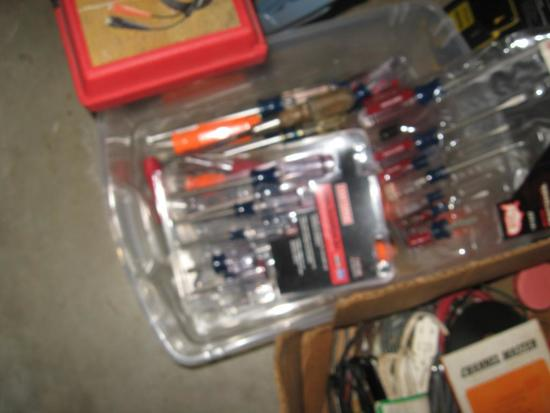 5 Boxes of Tools! Includes new screwdrivers, ext cords, electrical meters, retractable knife/blade